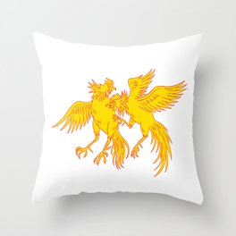 Cockfighting Roosters Cockerel Drawing Throw Pillow