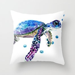 Sea Turtle, blue purple illustration children room cute turtle artwork Throw Pillow