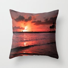 Waikiki beach sunset Throw Pillow