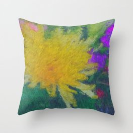 Yellow Flower impressionist style Throw Pillow