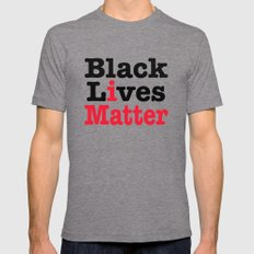 BLACK LIVES MATTER Tri-Grey MEDIUM Mens Fitted Tee