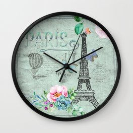 Paris - my love - France Eiffeltower Nostalgy - French Vintage Wall Clock