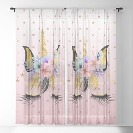 Floral Unicorn  Sheer Curtain