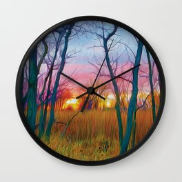 Wetland Sunset Wall Clock