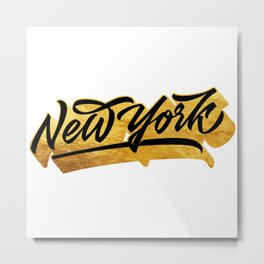 New York Black and Gold awesome lettering Metal Print