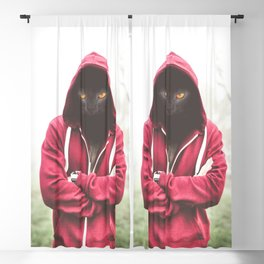 Creepy Black Cat Dressed Hoodie Blackout Curtain