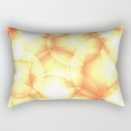 Gentle intersecting golden translucent circles in pastel colors with glow. Rectangular Pillow