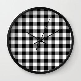 Jumbo Milkweed White and Black Rustic Cowboy Cabin Buffalo Check Wall Clock