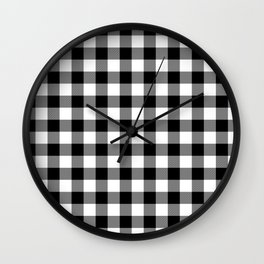 Jumbo Milkweed White and Black Rustic Cowboy Cabin Buffalo Check Wall Clock