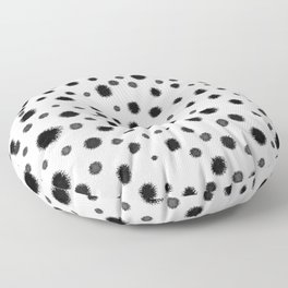 Ink drops splats splots inky texture painting abstract black and white minimal modern dorm college  Floor Pillow