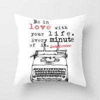 kerouac Throw Pillows featuring Jack Kerouac by MuDesignbyMugeBaris