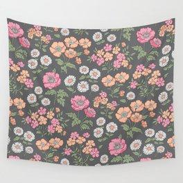 Floral Flowers Vintage Garden Pink Red Peach On Dark Grey Wall Tapestry