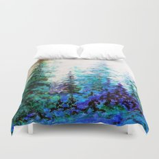 Mountain Landscape Pines In Blue-Greens-Purple Duvet Cover