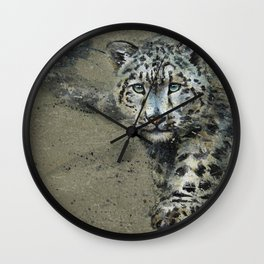 Snow leopard background Wall Clock