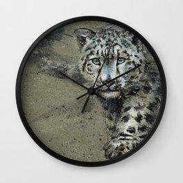 Snow leopard background Wall Clock