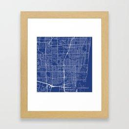 Fort Lauderdale Map, USA - Blue Framed Art Print