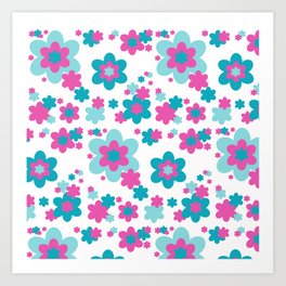 Teal Blue and Hot Pink Floral Art Print