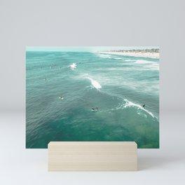California Surf // Coastal Spring Waves Teal Blue and Green Ocean Huntington Beach Views Mini Art Print