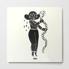 the girl and the snake Metal Print