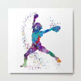Girl Baseball Softball Pitcher Metal Print