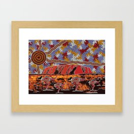 Uluru (Ayers Rock) Authentic Aboriginal Art Framed Art Print