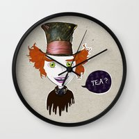 mad hatter Wall Clocks featuring Mad Hatter by Lourenço Santos