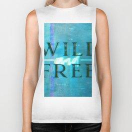 Wild and Free Turquoise Glitch Biker Tank