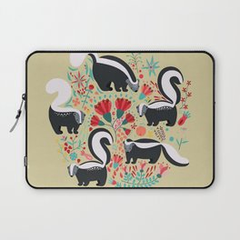Cute Gang of Skunks Playing in the Garden Laptop Sleeve