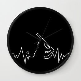 Baseball Heartbeat graphic Cool Gift for Sport Lovers Wall Clock