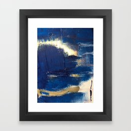 Halo [2]: a minimal, abstract mixed-media piece in blue and gold by Alyssa Hamilton Art Framed Art Print