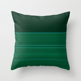 Dark Emerald Green with Light Blue Stripes Throw Pillow