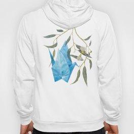Blue origami crane and eucalyptus branches (pencil & watercolor) Hoody