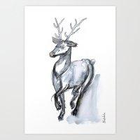 Buck, Watercolor Art Print
