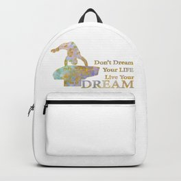 Live Your Dream Gymnastics Design in Watercolor and Gold Backpack