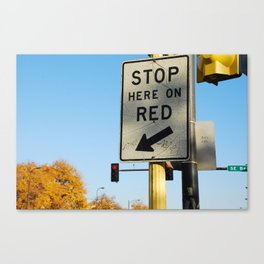 stop HERE on red Canvas Print