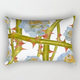 WHITE ROSES & GREEN THORNY ROSE CANES ABSTRACT Rectangular Pillow