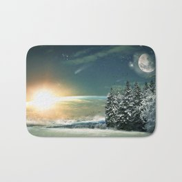 Winter Village At Night With Globus Sunrise At Horizon Ultra HD Bath Mat