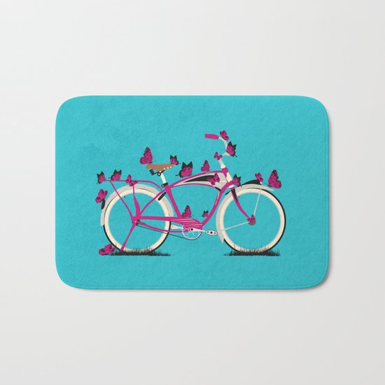 Butterfly Bicycle Bath Mat