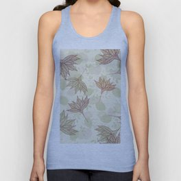 Pastel brown pink  green autumn leaves floral Unisex Tank Top