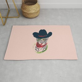 Grunge portrait of a cat in a cowboy hat Rug
