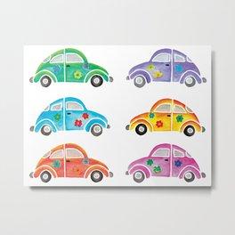 Colorful Hippie Cars Metal Print
