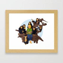 Jane Goodall and Chimps Framed Art Print