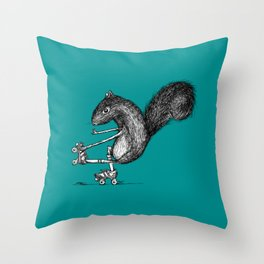 Ride On Squirrel_teal Throw Pillow