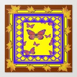 Coffee Brown Monarch Butterflies Yellow-Purple Art Canvas Print