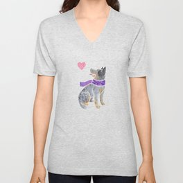 Watercolour Australian Cattle Dog Unisex V-Neck