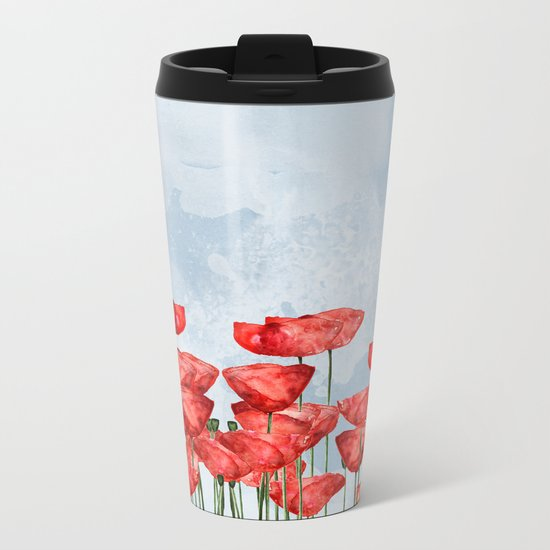Poppyfield poppies poppy blue sky- watercolor artwork Metal Travel Mug