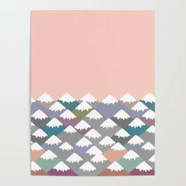 Nature background with Mountain landscape. Gray, pink, blue navy mountain with snow-capped peaks. Poster