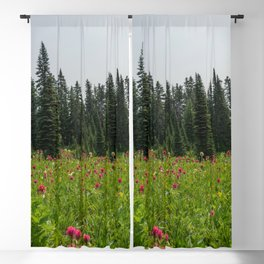 Mount Rainier Wildflower Adventure - Pacific Northwest Mountain Forest Wanderlust Blackout Curtain