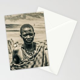 4300 Portrait of Young Maasai Tanzania East Africa Stationery Cards