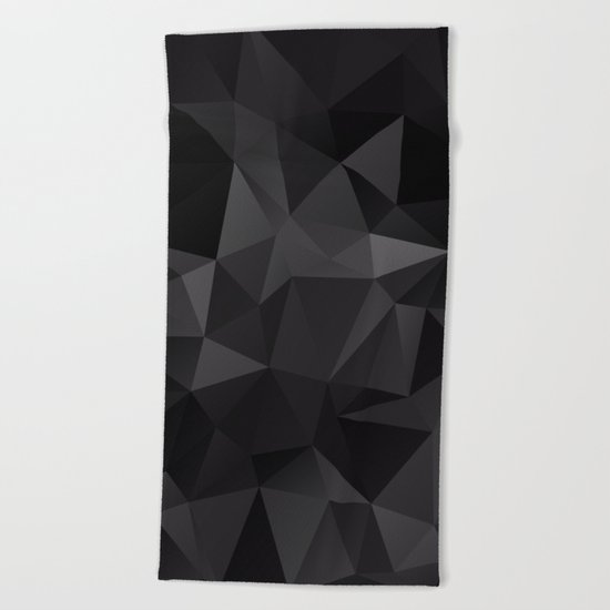 Abstract of triangles polygo in black colors Beach Towel